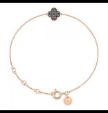 Morganne Bello armband met klaversteen zwarte diamant rosegoud