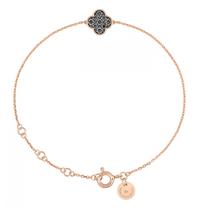 Morganne Bello bracelet with shamrock black diamond rose gold