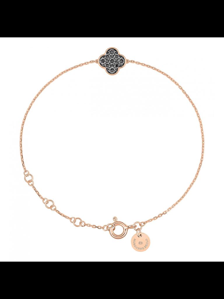 Morganne Bello Morganne Bello armband met klaversteen zwarte diamant rosegoud