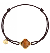 Morganne Bello cord bracelet with tiger eye clover stone yellow gold black