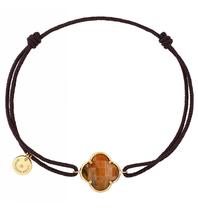 Morganne Bello koord armband met tiger eye klaver steen geelgoud zwart
