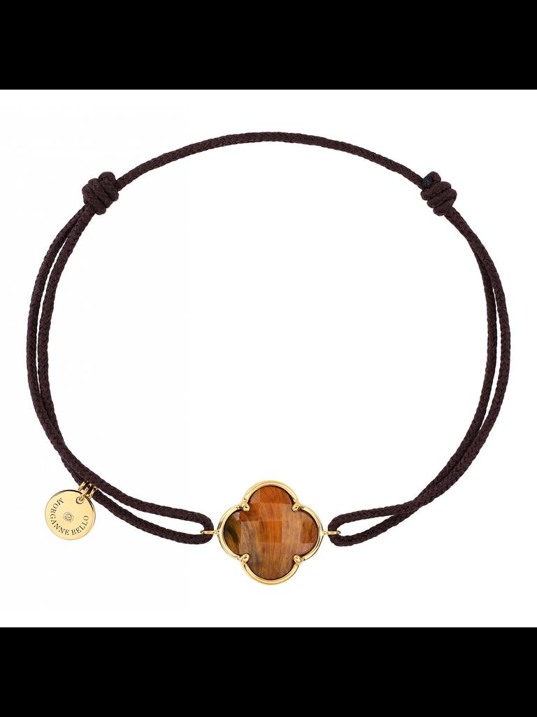 Morganne Bello Morganne Bello koord armband met tiger eye klaver steen geelgoud zwart