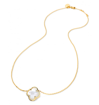 Morganne Bello necklace with clover stone mother-of-pearl yellow gold