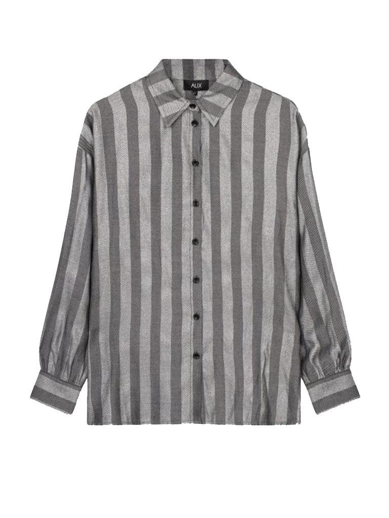 Alix The Label Alix the label oversized lurex stripe blouse grijs