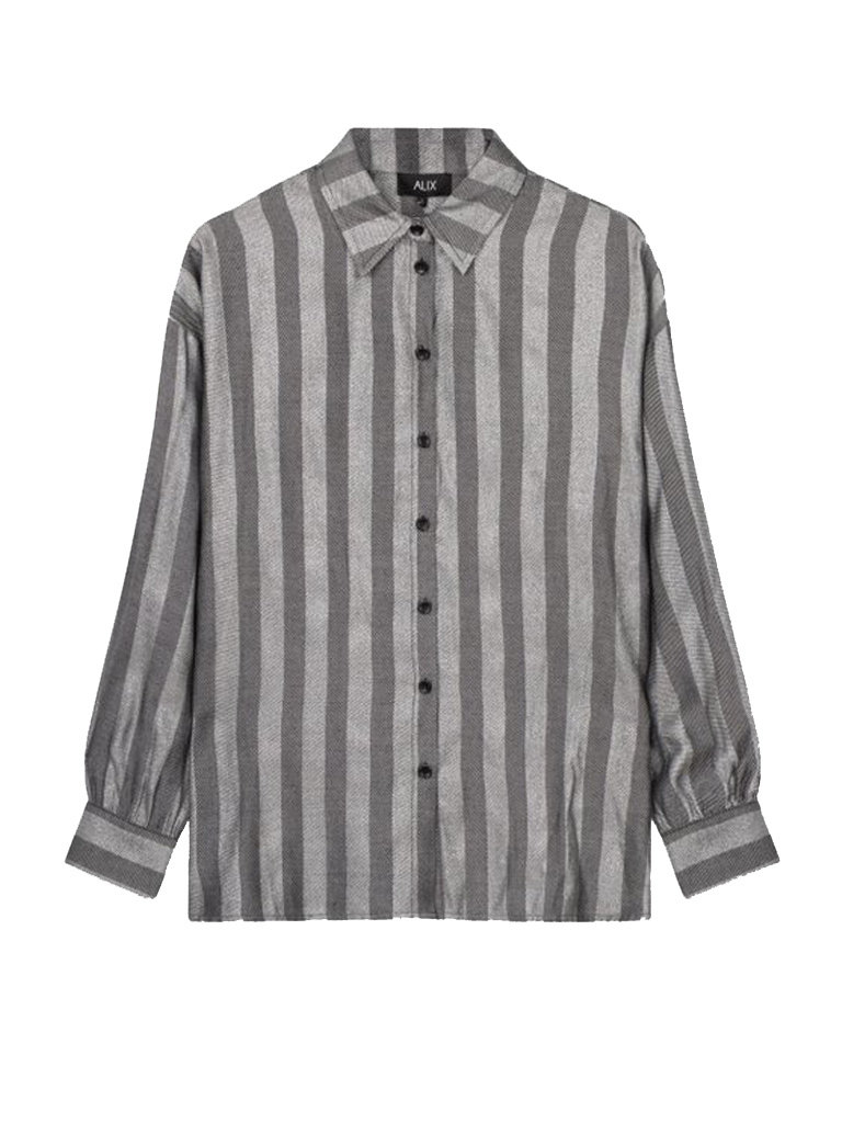 Alix the label oversized lurex stripe blouse gray