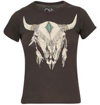 Chaser Chaser t-shirt met cowskull vintage zwart