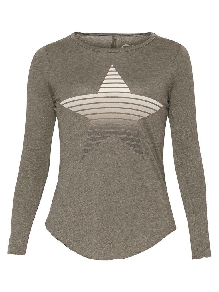Chaser Chaser T-shirt met lange mouwen en ster grijs