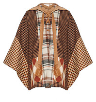 Semicouture checkered poncho with multicolor hood
