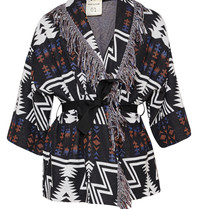 Semicouture cardigan with fringes aztec print black