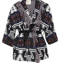 Semicouture Semicouture vest met fringes aztec print zwart