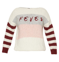 Paul x Claire striped knitted sweater with text cream nude