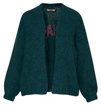 Paul x Claire knitted cardigan with petrol green on the back