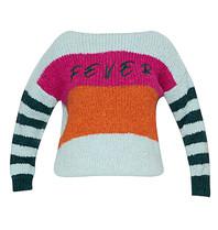 Paul x Claire gestreepte gebreide trui met tekst blauw multicolor