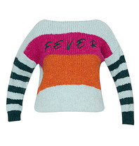 Paul x Claire striped knitted sweater with text blue multicolor