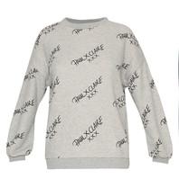 Paul x Claire Paul x Claire Sweater met logo print grijs