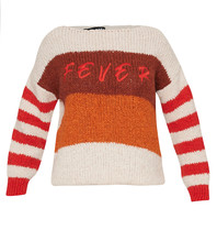 Paul x Claire striped knitted sweater with text multicolor