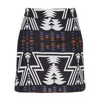 Semicouture mini skirt with aztec print black