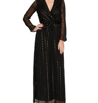 Acide Luca maxi dress with v-neck and gold colored black details