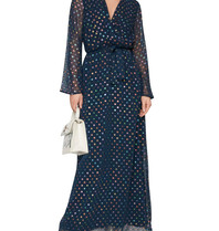 Acide Luca maxi dress with v-neck and dots blue multicolor