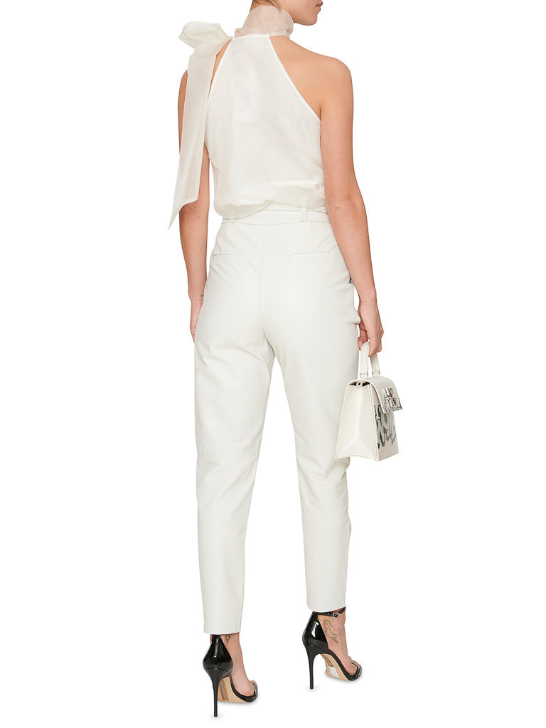 Acide Izabella leather pants with belt white