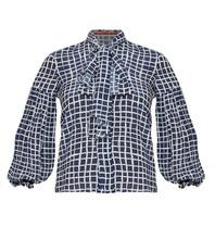 Britt Sisseck Britt Sisseck Daisy blouse with checkered print dark blue