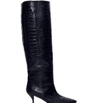 Semicouture hoge laarzen met krokodil motief donkerblauw