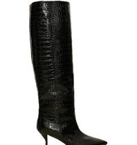 Semicouture Semicouture hoge laarzen met krokodil motief zwart