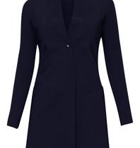 Marithé François Girbaud Stratalong blazer met knoop blauw
