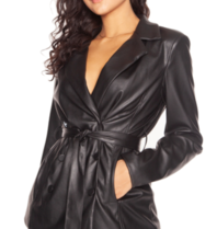 La Sisters LA Sisters leather belted blazer black