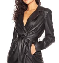 LA Sisters leather belted blazer zwart