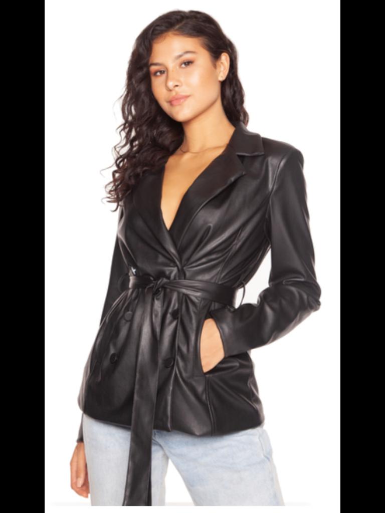 LA Sisters leather belted blazer black