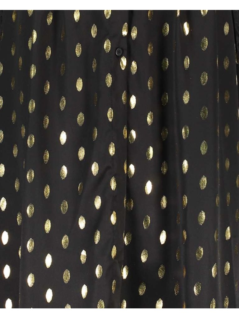 Freebird Freebird Stine Foil Midikleid mit goldfarbenen schwarzen Details