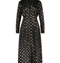 Freebird Freebird Stine Foil midi jurk met goudkleurige details zwart