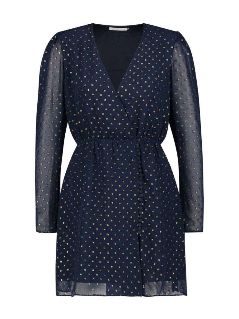 Freebird Evia Jaquard jurk met goudkleurige details blauw