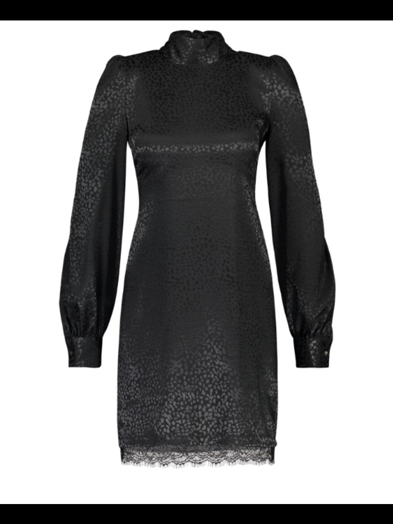 Freebird tracey jurk met leopard print zwart