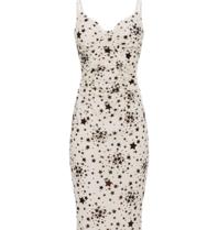 Elisabetta Franchi Kleid mit Sterndruck und Spitze weiß