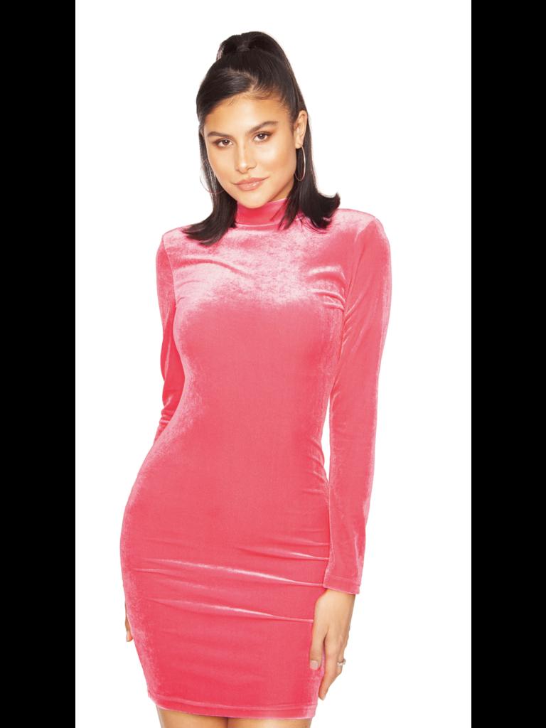 La Sisters LA Sisters mini velvet dress roze
