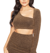 La Sisters La Sisters Glitter cut out two piece gold