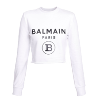 Balmain Balmain Cropped sweater met logoprint wit