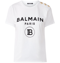 Balmain Balmain T-shirt with velvet logo white gold