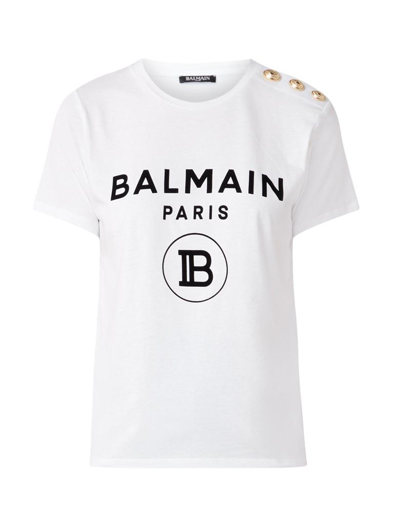 Balmain Balmain T-Shirt mit Samtlogo Weißgold