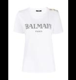Balmain Balmain T-Shirt mit Logo und Knöpfen aus Weißgold