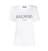 Balmain Balmain T-shirt with logo and white gold buttons