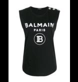 Balmain Balmain Top mit Samtlogo schwarz silber