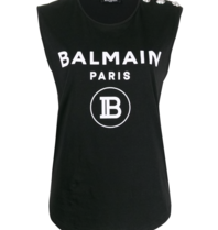 Balmain Balmain Top with velvet logo black silver