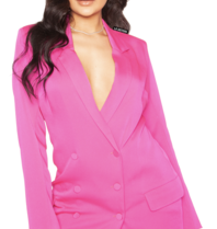 La Sisters LA Sisters satin blazer dress roze