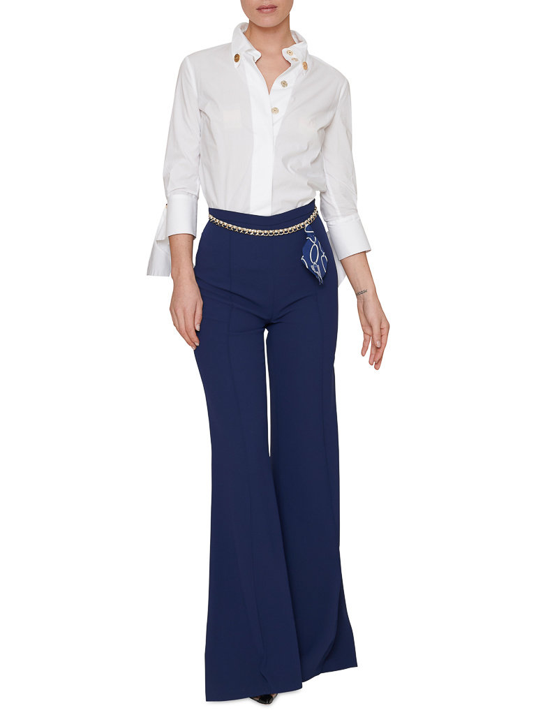 Elisabetta Franchi Elisabetta Franchi Palazzo trousers with chain blue