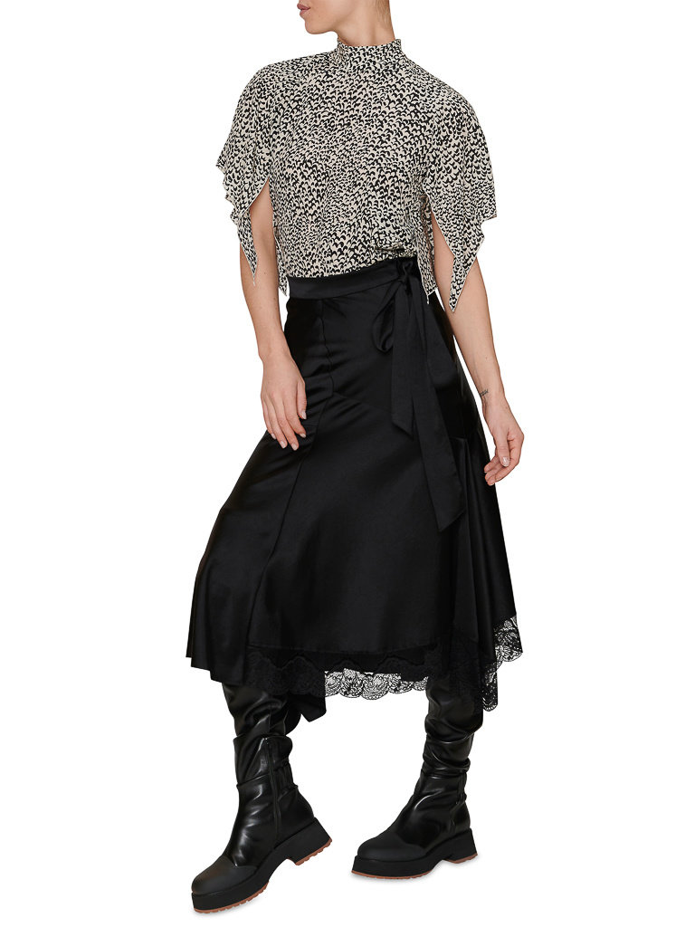 Erika Cavallini Erika Cavallini top met open rug en vlindermouwen zwart wit