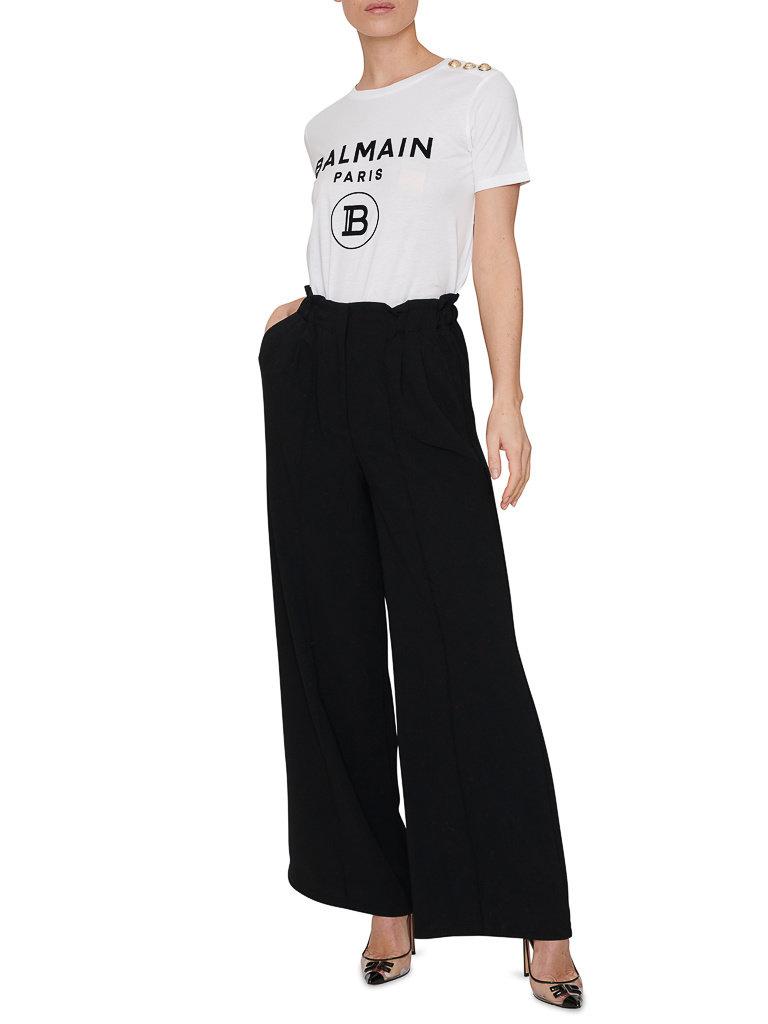 Balmain Balmain T-shirt with velvet logo white gold
