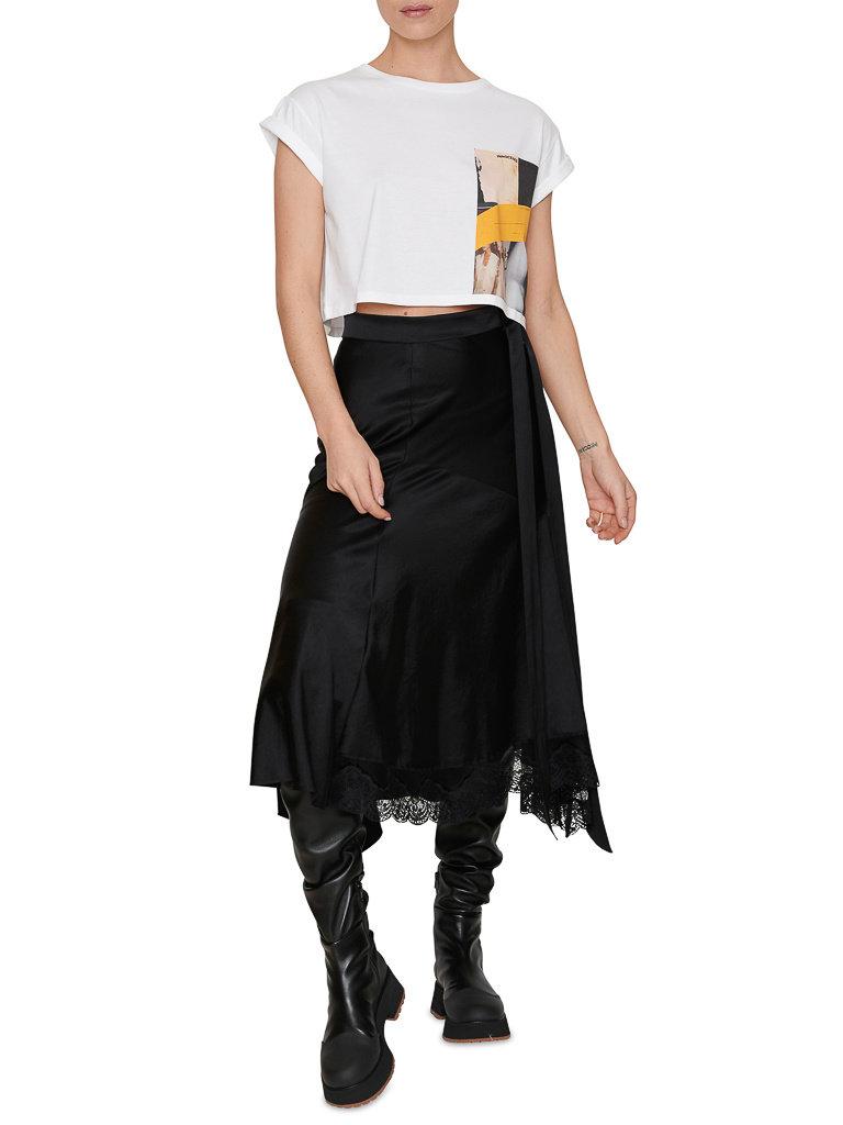 Erika Cavallini Kurz geschnittenes T-Shirt von Erika Cavallini mit weißem Aufdruck
